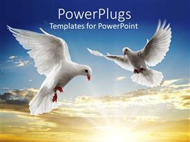 PowerPlugs: PowerPoint template with two white doves flying on a blue cloud background