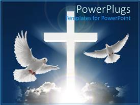 PowerPlugs: PowerPoint template with two white doves flying in blue sky next to huge white cross