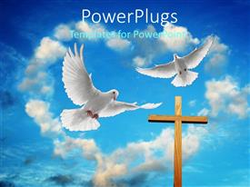 PowerPlugs: PowerPoint template with two white doves flying over cross in heart shaped cloudy sky