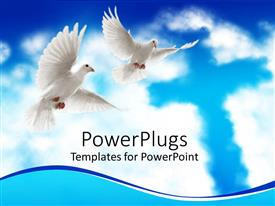PowerPoint template displaying two white doves flying with wide open wings and cross in clouds on blue sky