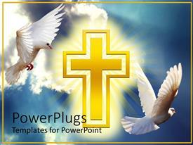 PowerPlugs: PowerPoint template with two white doves soaring high in clouds with yellow cross