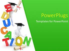 PowerPlugs: PowerPoint template with two white figures with scrolls wearing graduation caps and multicolored word Education