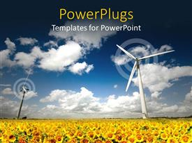 PowerPoint template displaying two wind turbines spinning and surrounded with yellow sun flowers