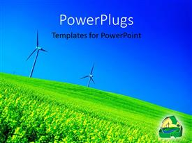 PowerPlugs: PowerPoint template with two windmills and a lot of greenery in background