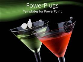 PowerPlugs: PowerPoint template with two wine glasses with classical martini on black background