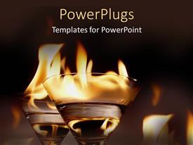 PowerPlugs: PowerPoint template with two wine glasses with water and fire on top