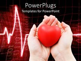 PowerPlugs: PowerPoint template with two woman hands holding a red heart cardiogram heartbeat line on red and black background