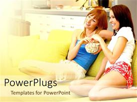 PowerPlugs: PowerPoint template with two women eating popcorn watching television