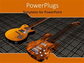 PowerPlugs: PowerPoint template with two wooden guitars and string on grid line patterned background