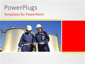 PowerPlugs: PowerPoint template with two workers with a chemical plant and place for text