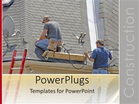 PowerPlugs: PowerPoint template with two workers and a stair working on a house roof