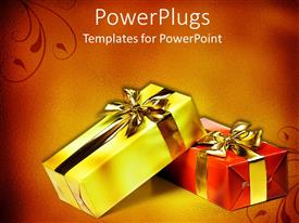 PowerPlugs: PowerPoint template with two wrapped gifts with bow in red and golden background