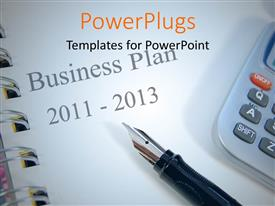 PowerPlugs: PowerPoint template with a calculator with a business plan in the background