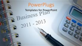PowerPoint template displaying a calculator with a business plan in the background