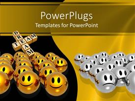 PowerPlugs: PowerPoint template with two yellow and black tiles with smiling and frowning smileys