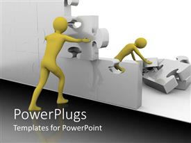 PowerPlugs: PowerPoint template with two yellow colored 3d images holding some gears together