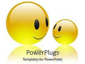 PowerPlugs: PowerPoint template with two yellow happy emoticons as a metaphor mother and child on white background