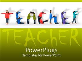 PowerPlugs: PowerPoint template with two young Asian girls spell out the word teacher