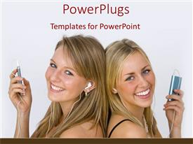 PowerPlugs: PowerPoint template with two young blond girls back to back listening to music with ipod and headphones