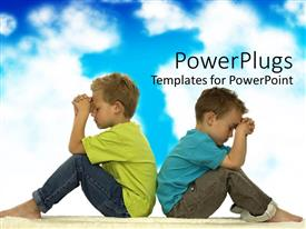 PowerPlugs: PowerPoint template with two young boys praying while sitting back to back cloudy blue sky