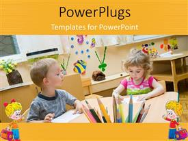 PowerPlugs: PowerPoint template with two young children in a class room looking at books