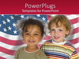 PowerPlugs: PowerPoint template with two young children smiling over a usa flag background