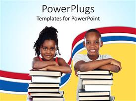 PowerPlugs: PowerPoint template with two young children smiling and resting on two stacks of books