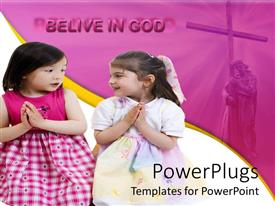 PowerPoint template displaying two young christian friends are praying