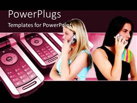 PowerPlugs: PowerPoint template with two young girls making phone calls with cell phone in background