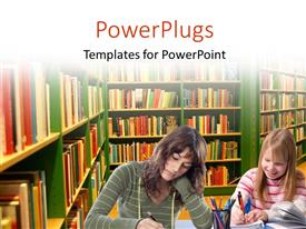 PowerPoint template displaying two young ladies in a big library writing
