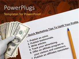PowerPlugs: PowerPoint template with a umber of dollars with a number of tips in background