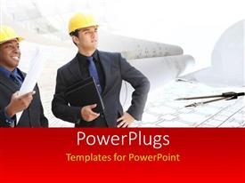 PowerPlugs: PowerPoint template with a umber of engineers with a construction design in background
