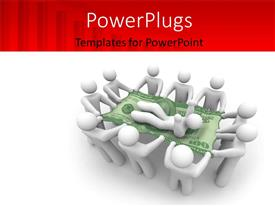 PowerPlugs: PowerPoint template with a umber of figures holding one on a dollar note