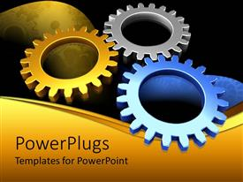 PowerPlugs: PowerPoint template with a umber of multicolor gears with blackish background
