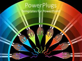 PowerPlugs: PowerPoint template with a umber of paint brushes forming a circle