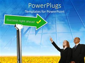 PowerPoint template displaying a umber of professionals looking forward to the new way
