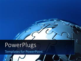 PowerPlugs: PowerPoint template with a umber of puzzle pieces making the globe with bluish background
