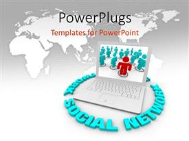 PowerPlugs: PowerPoint template with a umber of words surrounding the laptop with map in the background