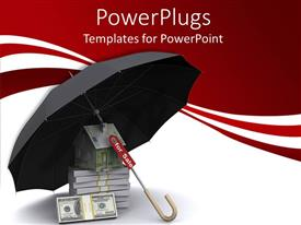 PowerPlugs: PowerPoint template with an umbrella with bundles of dollars