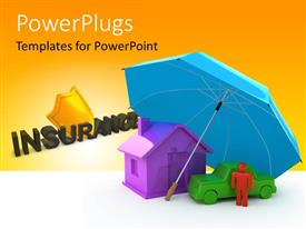 PowerPlugs: PowerPoint template with umbrella giving shelter to a house, car and human with insurance keyword in background depicting insurance concept