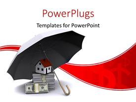 PowerPlugs: PowerPoint template with umbrella protecting house and stack of dollar bills depicting real estate business