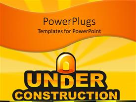 PowerPlugs: PowerPoint template with under construction sign with siren on orange background