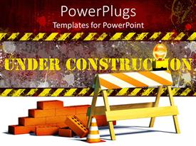 PowerPlugs: PowerPoint template with under construction word with construction site barrier and bricks