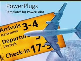 PowerPoint template displaying underside of blue jet plane in front of flight information