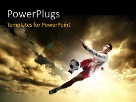 PowerPlugs: PowerPoint template with a uniformed football player kicking a soccer ball mid-air