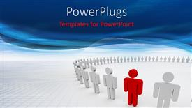 PowerPoint template displaying 3D characters standing in a circle and an outstanding red colored one