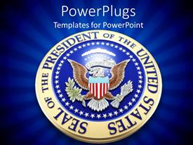 PowerPlugs: PowerPoint template with united states presidential seal in 3D on blue background