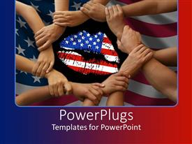 PowerPoint template displaying unity with American flag lips, hands clasped in a circle