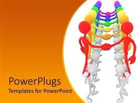 PowerPlugs: PowerPoint template with unity metaphor with rainbow colored people shaking hands, teamwork