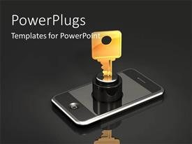 PowerPoint template displaying unlocking a phone with the help of a key